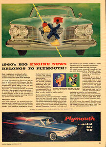 1959 authentic magazine ad for Chrysler Slant-6 Plymouth
