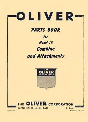 Oliver Model 18 Combine Attachment Parts Book Manual Ol