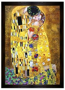 gustav klimt der kuss 200x140 lgem lde handgemalt leinwand rahmen sig g94779 ebay. Black Bedroom Furniture Sets. Home Design Ideas