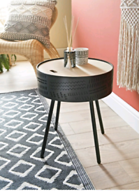 Modern Black Tribal End Side Coffee Table with Storage