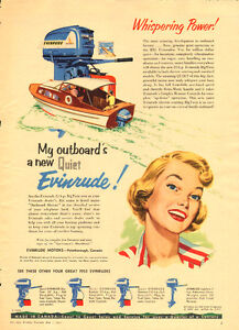 Large 1955 full page color ad for Evinrude Outboard Motors