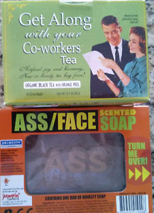 Gag Gifts - Face/Ass sided Soap & Get Along Tea