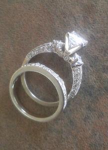 14KT Custom White Gold Princess Engagement & Band