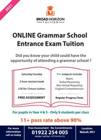 Online 11 plus tuition (FREE 2 weeks) Walsall Grammar School Entrance