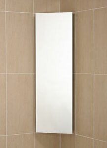 Bathroom corner cabinet tall stainless steel single mirror door c1cr for Tall stainless steel bathroom cabinet