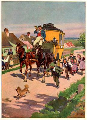 """""""Postkutsche"""" im Dorf von Kindern begleitet. Original Chromlithographie von 1909"""