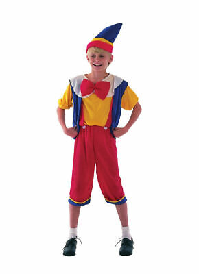Child Pinocchio Costume Boys Fairytale Puppet Fancy Dress Book Week Outfit MED - Pinocchio Costume