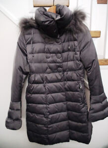 Women's Down-filled Winter Coat with Fox Fur - Size S