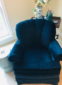 Navy Velvet Armchair - PERFECT condition