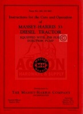 Massey Harris 33 Diesel Parts List Manual 1001-up