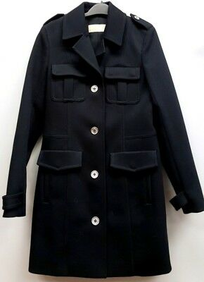 MICHAEL KORS Size S Blue Silver Button Pockets Long Sleeve Structured Coat