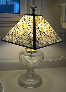 Vintage Handmade Oil Lamp Base Turned into Electirc Lamp