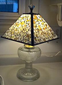 Vintage Handmade Oil Lamp Base Turned into Electirc Lamp