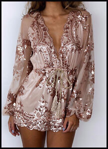BRAND NEW Deep Plunge V-Neck Long Sleeved Beaded Sequin Playsuit Kitchener / Waterloo Kitchener Area image 5