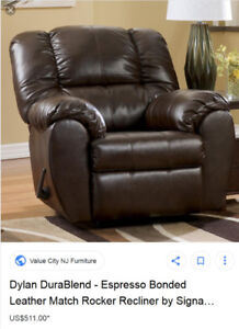 Fake Leather Rocker Recliner Comes Near New, Clean, No rips