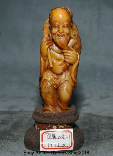 "6"" Natural Tianhuang Shoushan Stone Carved Stand Old Man People Figure Statue"