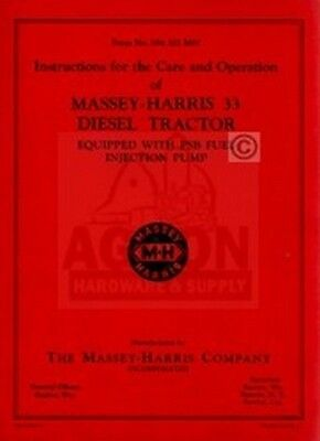 Massey Harris 33 Diesel Psb Tractor Operator Manual