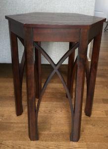 Hexagon Wood Side Table