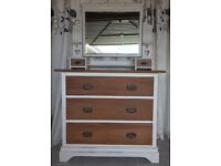 Edwardian chest of drawers and mirror shabby chic