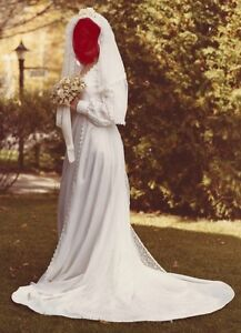 Wedding dress,hand made/satin & lace, long sleeves, 1979 vintage