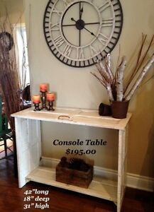 Tv or Console table made from antique cupboard doors.