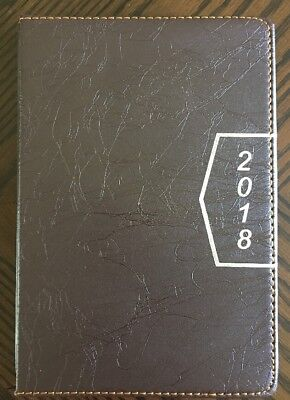 2018 Calendar Planner Appointment Book Daily Travel Agenda Notebook Tabbed Brown