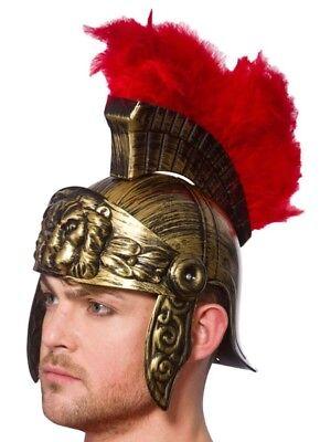 Herren Deluxe Römisch Kostüm Helm Soldaten Zenturio Spartan Helm (Spartan Deluxe Kostüm)