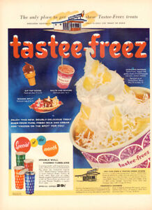 1956 large (10 ¼ x 14) color magazine ad for Tastee-Freez Restau