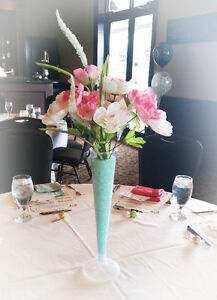 Flower Centrepieces in Pink, White and Seafoam Green