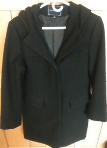 **LADIES DARK GREEN WOOL BLEND COAT WITH HOOD FOR SALE-SIZE 6**