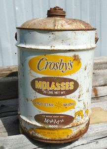 Vintage 1950's Crosby's Molasses 5 Imperial Gallon Tin Can Sign