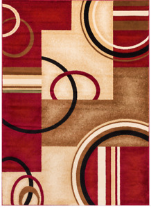 Modern Beige and Red Area Rug /NEW