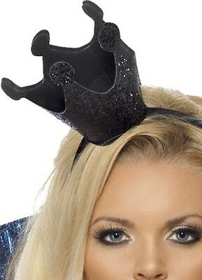 ADULT EVIL QUEEN COSTUME BLACK MINI CROWN HEADBAND GOTHIC WICKED WITCH SWAN HAT  (Halloween 28314)