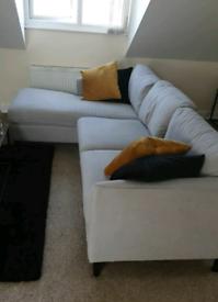 Hayward Dove Grey Plush Fabric L Shape Sofa