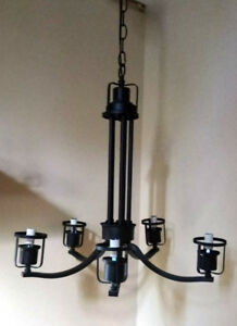 5-Light Textured Black Iron Chandelier