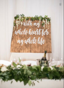 Wooden wedding back drop