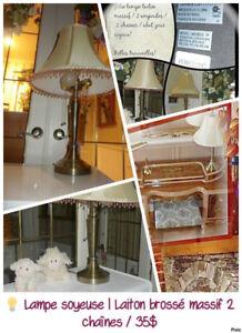 Lampe Laiton massif  sur pied   2 ampoules   Prête à l'usage 35$