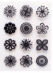 Clear Acrylic FLORAL / FLOWER SET Flowers Trees Leaves 12 Stamps Set