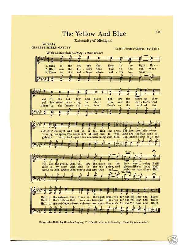 Vintage UNIVERSITY OF MICHIGAN song sheet-