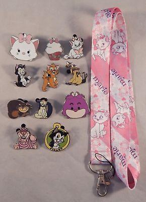 Cat Theme 5 Pin and Aristocats Marie Lanyard Set Walt Disney World ~ Brand NEW