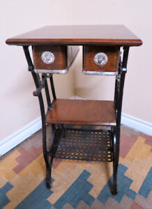 Table created from a Raymond treadle sewing machine table