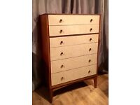 Very Retro Teak & Formica Chest of 6 Drawers, Tallboy, lovely condition, Mid Century 70s?