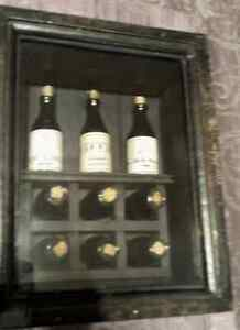 Shadow Box, Antique looking, Wood frame with Wine bottles inside