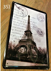 Eiffel Tower Black and White Postcard Metal Plaque/Plate Sign