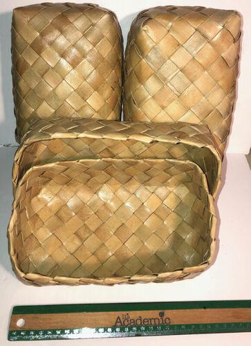 """Three Lauhala Weaved Gift 9""""x6""""x4"""" Boxes Hawaiian Basket Keepsake Hawaii Hula N"""