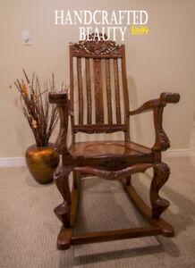Beautiful Antique Rocking Chair Brass Inlay $300