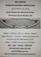 WINDSOR, NS 3rd ANNUAL MILITARIA SHOW & SALE (NAVY ARMY AIRFORCE