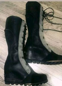 SOREL Cate The Great Tall WEDGE Leather Boots. Women's size 8US.
