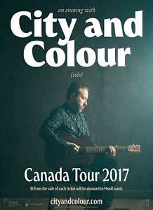 !!! One City and Colour Ticket Front Row to his Sold Out Truro!!