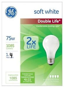 Case of 48 75 Watt Incandescent Light Bulbs Soft White Double Life 1.4 Year Life